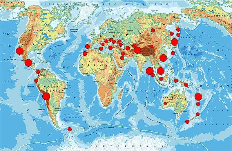 Где находятся действующие вулканы карта