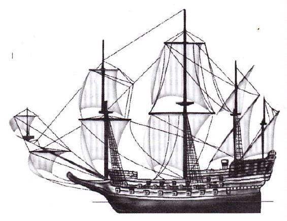 корабль prince royal, трехпалубное судно, военный корабль