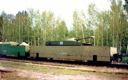 Бронированная платформа с плавающим танком ПТ-76