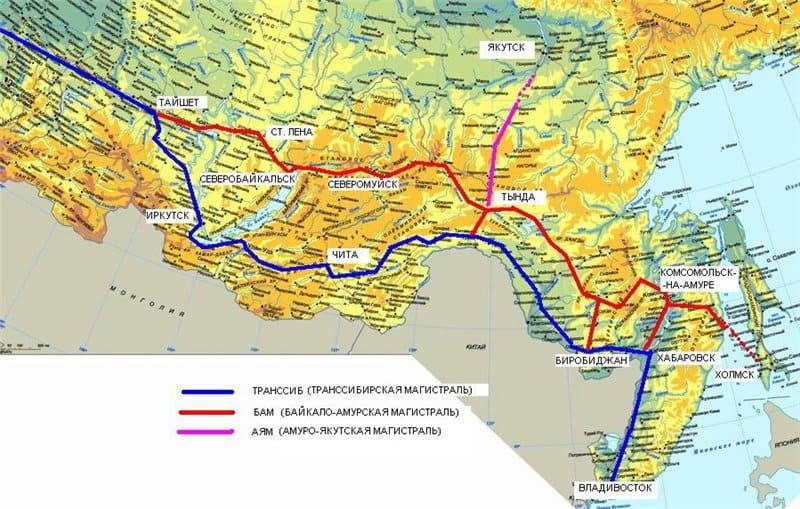 Схема трасс Транссиба и БАМа