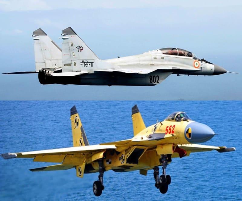 MiG-29K and Shenyang J-15.