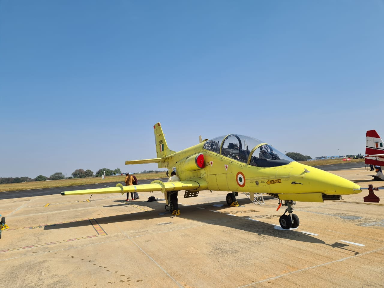 AL-55I engine installed on Indian HJT-36 trainer aircraft demonstrated at the exhibition